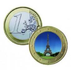 Monument de la République - 1 euro domé en couleur Tour Eiffel