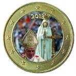 Benoit XVI à Fatima 2013 - 1 euro domé en couleur