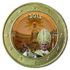 Benoit XVI en procession rue du Bac - 1 euro domé en couleur