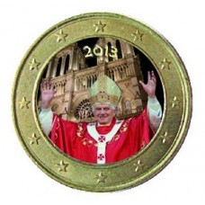 Benoit XVI Visite à Paris 2013 - 1 euro domé en couleur