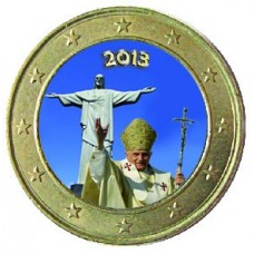Benoit XVI Corcovado - 1 euro domé en couleur