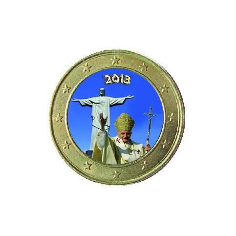 Benoit XVI Corcovado 2013 - 1 euro domé en couleur