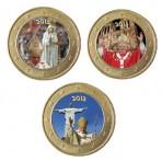 Benoit XVI Hommage - Lot de 3 pièces de 1 euro domé en couleur