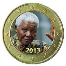 Nelson Mandela 'Le Salut' 2013 - 1 euro domé en couleur