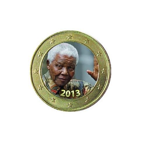 Nelson Mandela 'Le Salut' - 1 euro domé en couleur