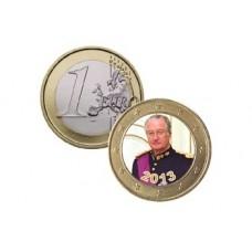 Albert II de Belgique 2013 - 1 euro domé en couleur