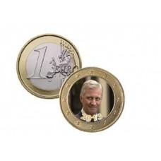 Roi Philippe de Belgique 2013 - 1 euro domé en couleur