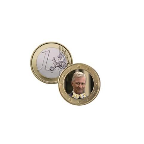 Roi Philippe de Belgique - 1 euro domé en couleur