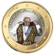 Pape Francois 2013 'Remise de l'Etole' - 1 euro domé en couleur