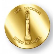 Pièce dorée à l'or fin 24 carats commémorative adoption de l'euro par la Lettonie