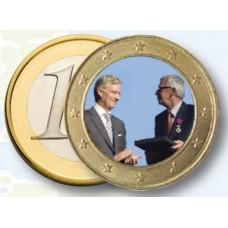 Albert II et Philippe de Belgique - 1 euro domé en couleur