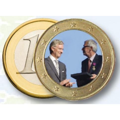 Albert II et Philippe de Belgique 2013 - 1 euro domé en couleur