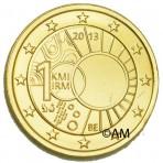 Belgique 2013- 2 euro commémorative dorée à l'or fin 24 carats