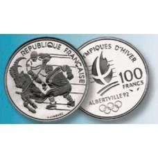 100 Francs Argent Albertville 1992 - Hockey sur Glace