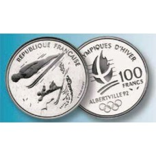 100 Francs Argent Albertville 1992 - Saut à Ski