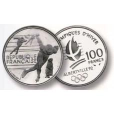 100 Francs Argent Albertville 1992 - Patinage de Vitesse