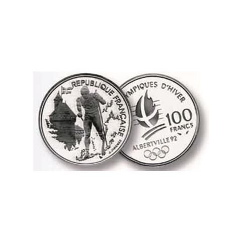 100 Francs Argent Albertville 1992 - Ski de Fond