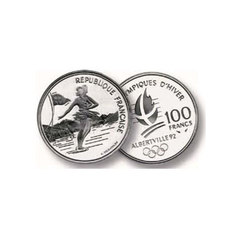 100 Francs Argent Albertville 1992 - Patinage Artistique