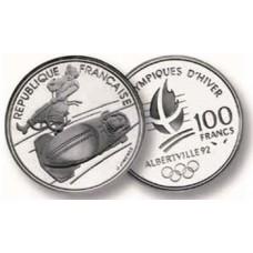 100 Francs Argent Albertville 1992 - Bobsleigh