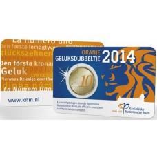"""Pays-Bas 2014 - Coincard euro """"Porte-bonheur"""" en couleur"""