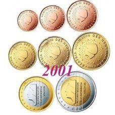 Pays-Bas 2001 : serie de 1 cent a 2 euros