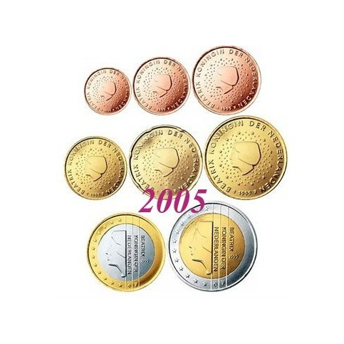 Pays-Bas 2005 : serie de 1 cent a 2 euros