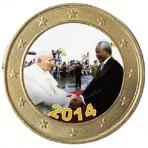 Nelson Mandela et Jean Paul II - 1 euro domé couleur