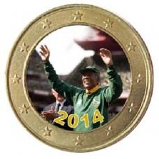 Nelson Mandela pendant la coupe du Monde - 1 euro domé couleur