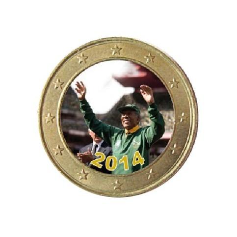Nelson Mandela 2014 coupe du Monde - 1 euro domé couleur