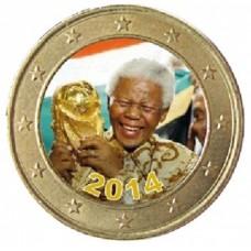 Nelson Mandela 'Coupe du Monde 2014' - 1 euro domé couleur