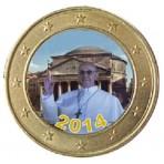 Pape Francois 2014 'Panthéon' - 1 euro domé couleur
