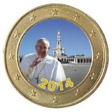 Pape François à Fatima 2014 - 1 euro domé couleur