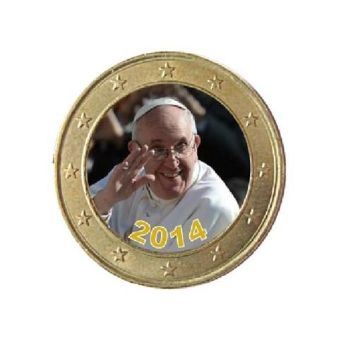 Pape François 'Le salut' 2014 - 1 euro domé couleur