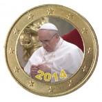 Pape François 2014 en prière - 1 euro domé couleur