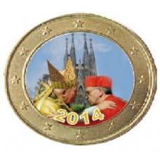 Benoit XVI et François 1er devant la Sagrada Familia - 1 euro domé couleur