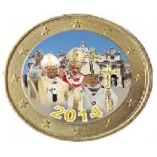 Les 3 papes et la Place Saint Pierre - 1 euro domé couleur