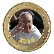Pape François Hommage - Lot de 4 pièces de 1 euro domé en couleur