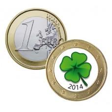 Trèfle 4 feuilles 2014 - 1 euro domé en couleur