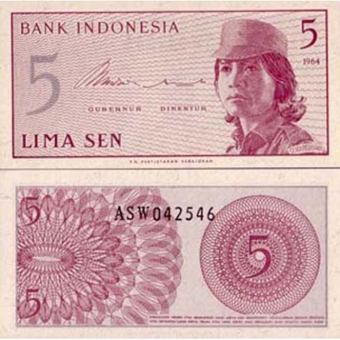 P.91 Indonesie - Billet de 5 Sen